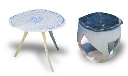 Sitzmöbel, Steinzeug, Porzellan, 60x40x40 cm, Fischtisch 46x62x47 cm